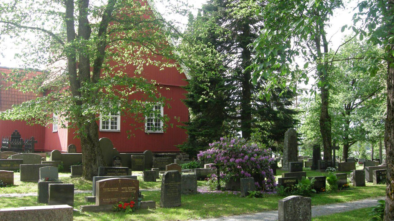 Angelniemen kirkko, hautausmaa ja kukkiva alppiruusu