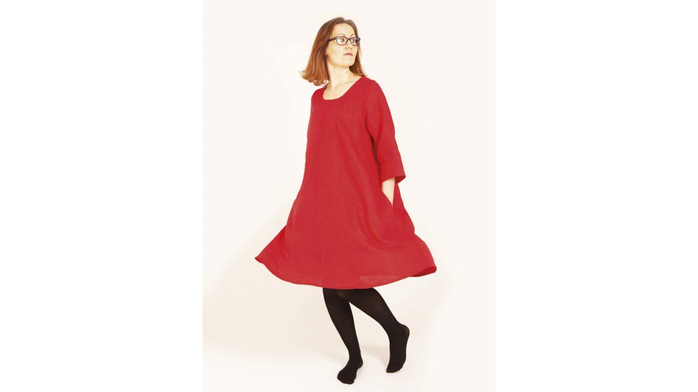 PellavaAkka Vehkomäki Paula Design punainen mekko