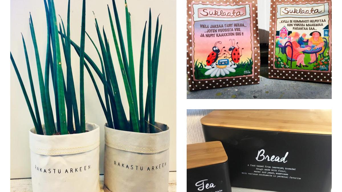 Salon Kukkakimpun tuotteita, kukkia, suklaata, somisteita
