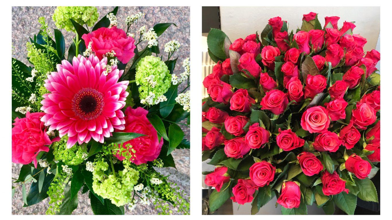 Punaisia ruusuja ja kaunis kimppu