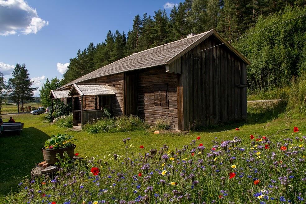 Vanha harmaa rakennus. Etualalla niittykukkia.