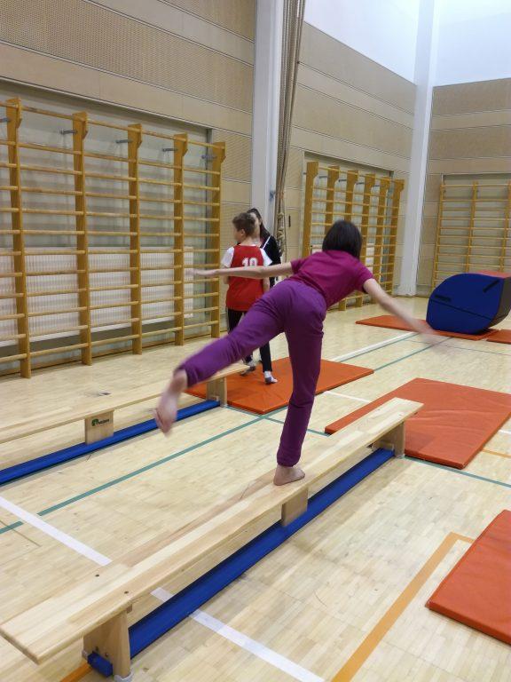 Halikon liikuntahallilla telinevoimistelua